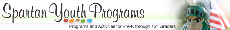 Spartan Youth Programs logo - Programs and Activities for Pre-K through 12th graders.